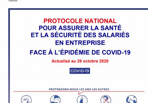 Protocole santé sécurité en entreprise face au Covid19 actualisé au 29 octobre 2020