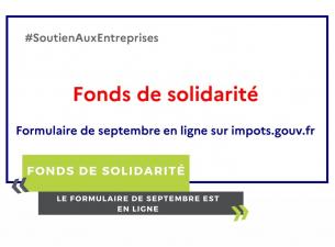 Fonds de solidarité : le formulaire de Septembre est en ligne